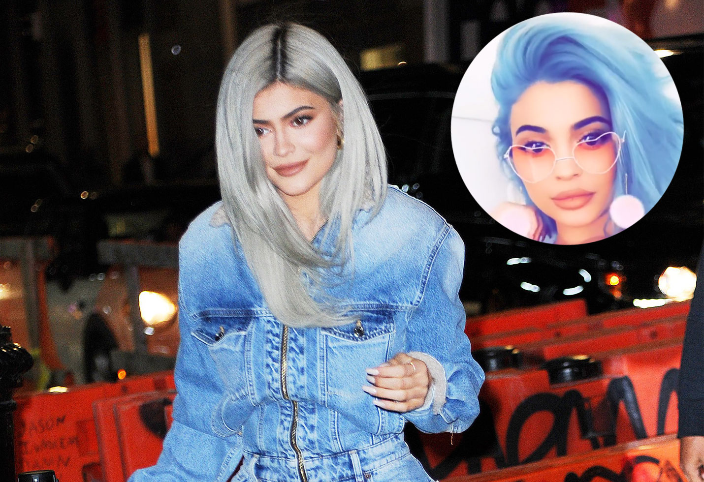 Kylie jenner post baby abs blue hair