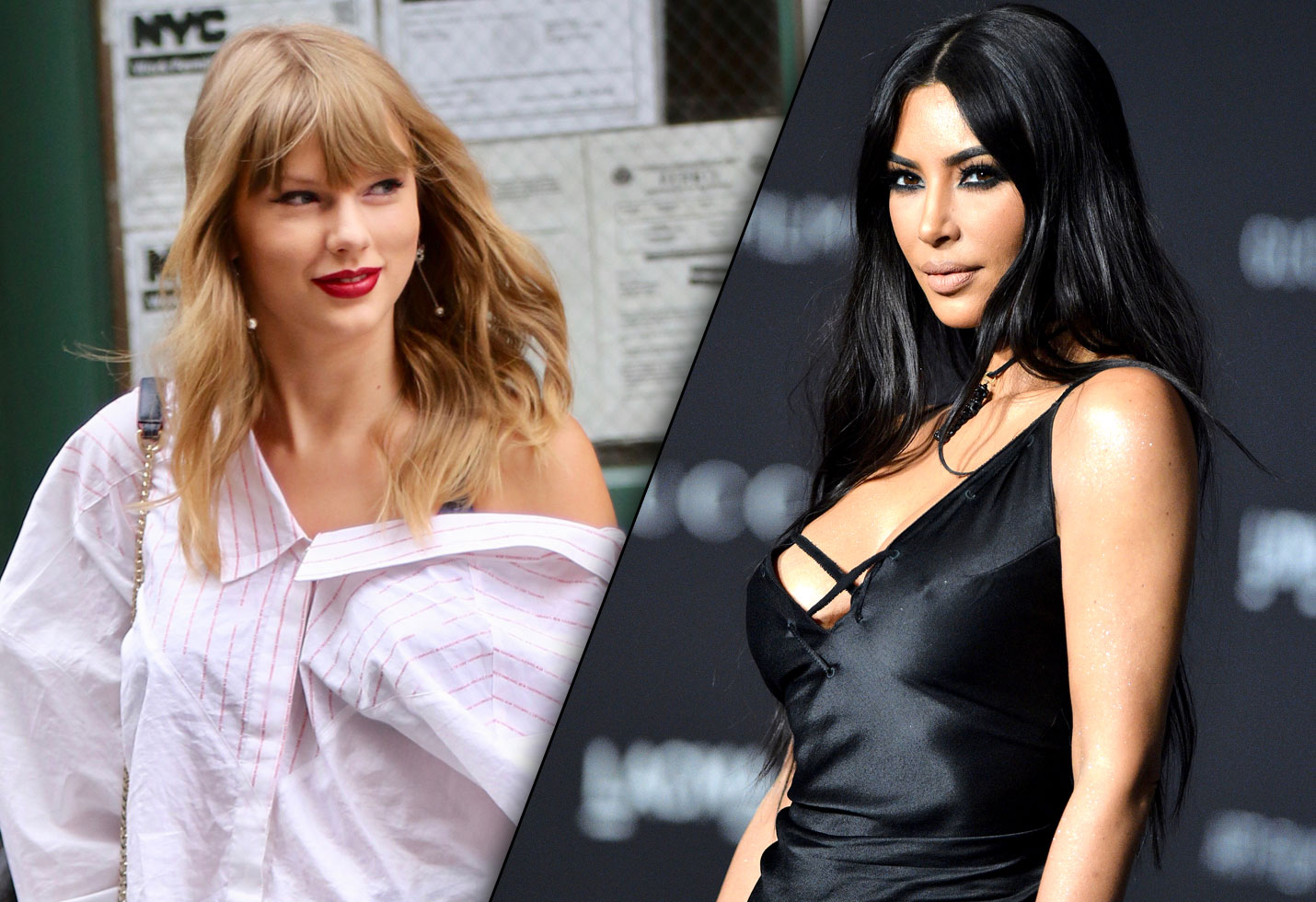 Taylor Swift in red lipstick smiling and Kim Kardashian in a black dress