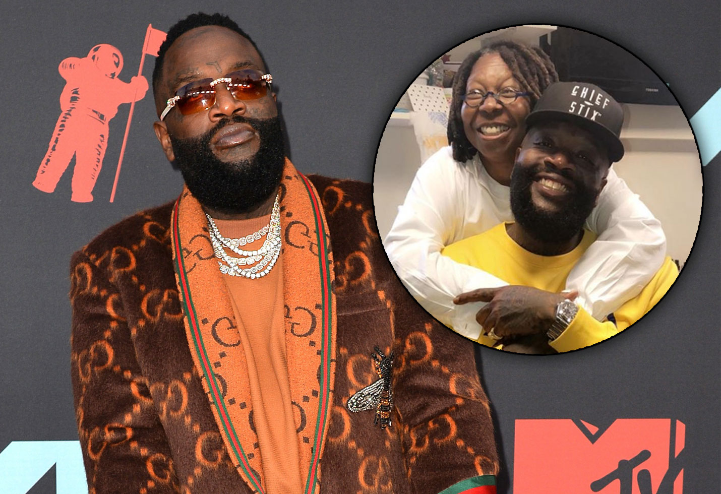 Rick Ross and Whoopi Goldberg