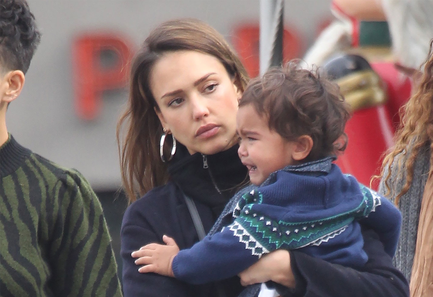Jessica Alba, husband Cash Warren and children out and about in West Hollywood.