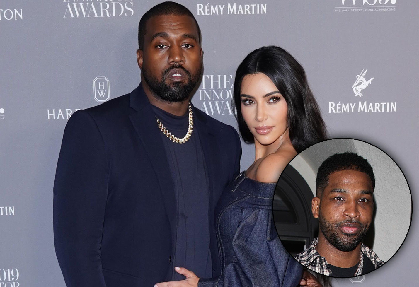 Kanye West and Kim Kardashian / Tristan Thompson
