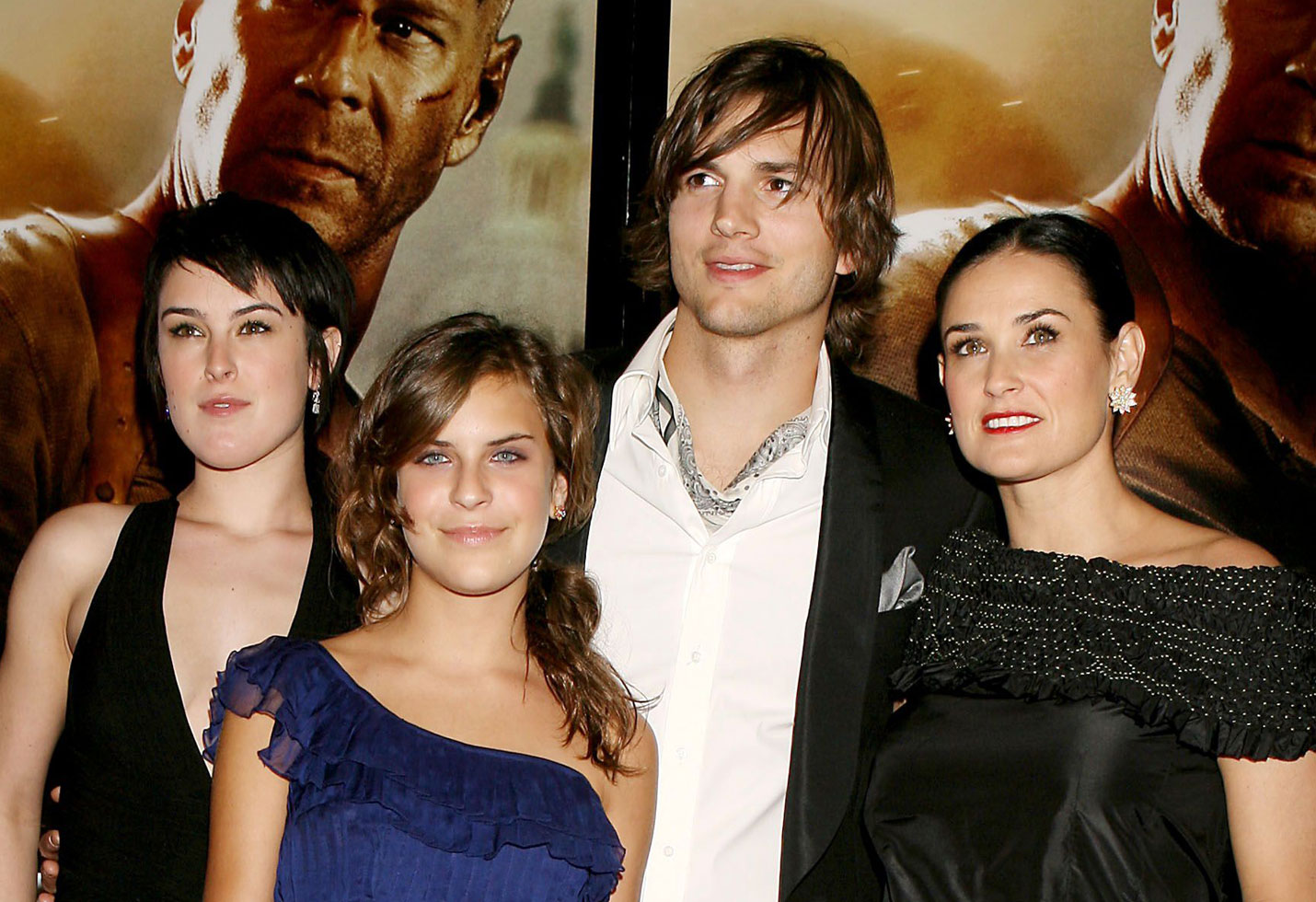 Tallulah Belle Willis, Rumer Willis, Ashton Kutcher and Demi Moore