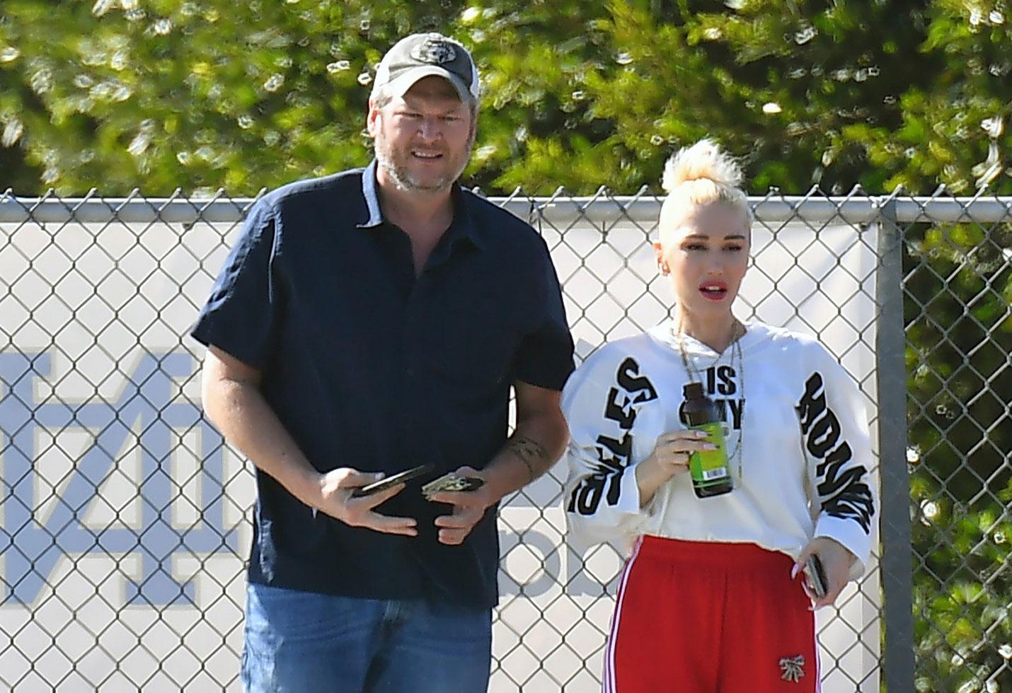Gwen Stefani and Blake Shelton run into Gavin Rossdale at Kingston's Football game.