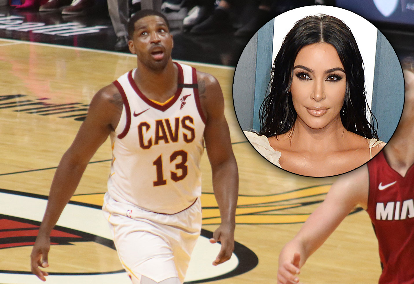 Tristan Thompson playing basketball; Kim Kardashian