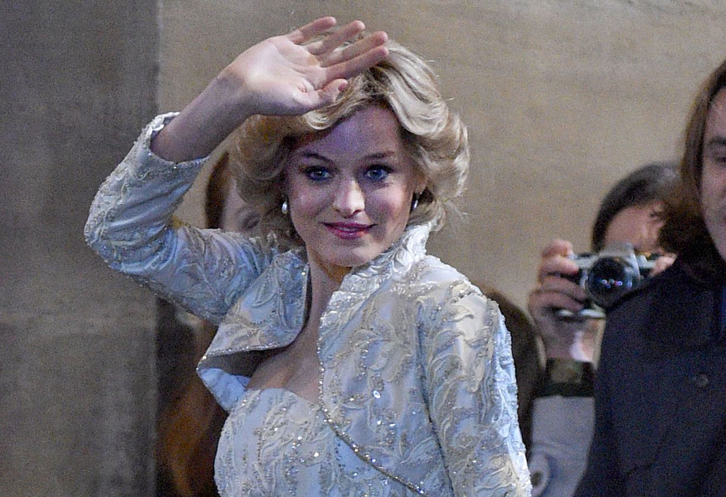 Emma Corrin on the set of 'The Crown' as Princess Diana